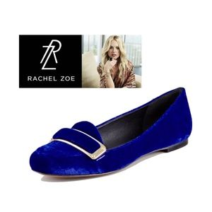 RACHEL ZOE Lily Blue Velvet Loafers Flats